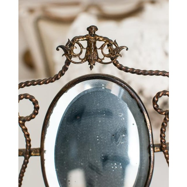 1800s Napoleon III French Shaving Mirror - Image 5 of 6