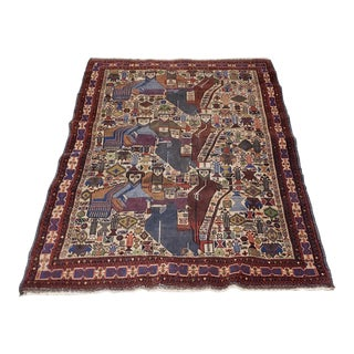 Early 20th Century Hand Knotted Rug With Twelve Figures - 3′8″ × 5′7″ For Sale