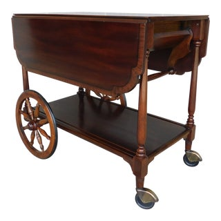 Henkel Harris Banded Mahogany Top Drop Side Tea Cart Serving Table