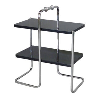 Machine Age Tubular Chrome Art Deco Side Table by Wolfgang Hoffmann