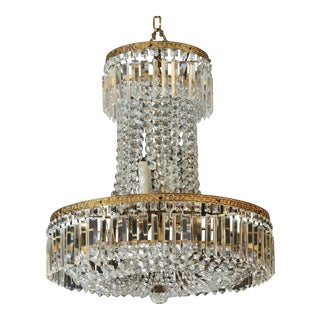 Late 19th Century Tall All Crystal Swedish Chandelier For Sale