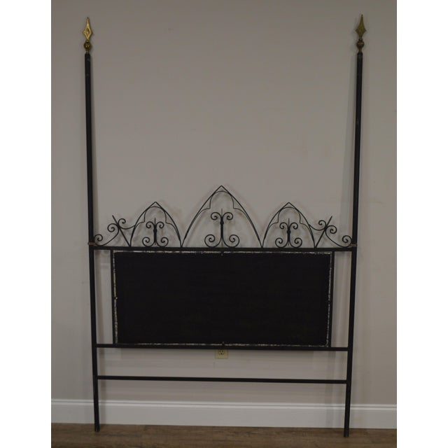 1960s Hollywood Regency Mid Century Iron Full Size Poster Headboard For Sale - Image 5 of 13