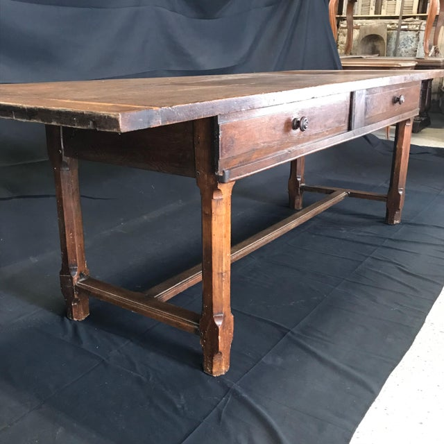 Early 19th Century Oak Farm Table With Sliding Drawers For Sale - Image 10 of 13