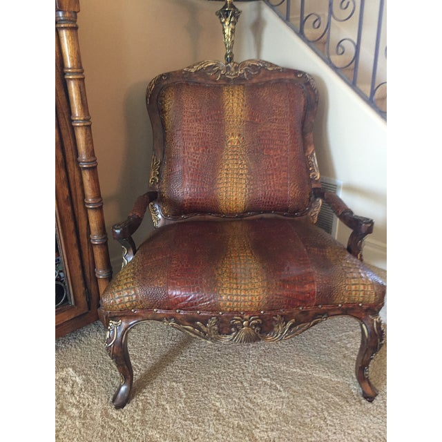 Embossed Leather Crocodile Pattern Accent Chair For Sale In Santa Fe - Image 6 of 6