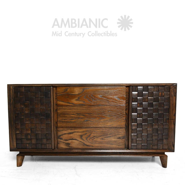 AMBIANIC is proud to offer: an oak credenza buffet in a basket weave Checkered design by architect and interior designer...
