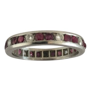 Platinum Ruby Diamond Eternity Band For Sale