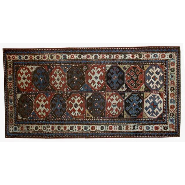 "Handmade Antique Caucasian Kazak Mohan Rug - 3'8"" X 8'2"" For Sale - Image 5 of 7"