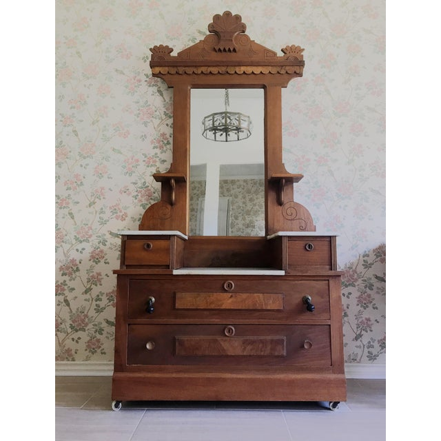 Antique Swedish Craftsmen Marble Topped Hall Tree or Vanity For Sale - Image 10 of 10
