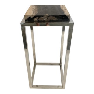 Modern Palecek Fossilized Stone Tall Side Table With Chrome Base For Sale
