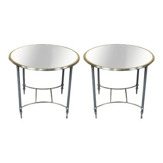 Maison Jansen Brass & Chrome Gueridon with Mirrored Tops - A Pair