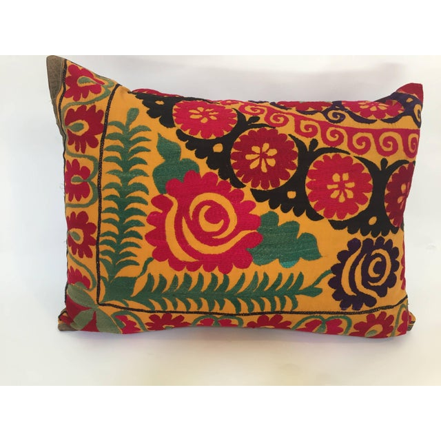 Large Vintage Colorful Suzani Embroidery Throw Pillow For Sale - Image 13 of 13