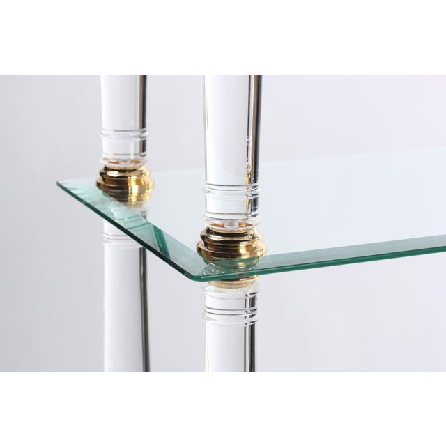 Neoclassic Modern Lucite and Brass Etagere For Sale - Image 4 of 8