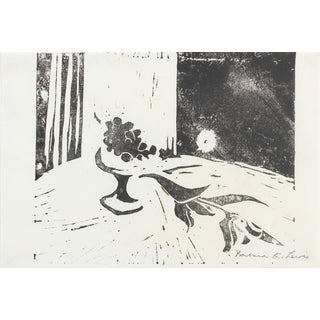 Barbara Lewis Late 20th Century Woodcut Print of a Still Life Late 20th Century For Sale