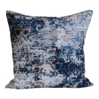 Turkish Distressed Blue Print Pillow Cover For Sale