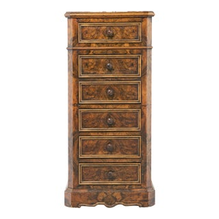 19th Century French Louis Philippe Burl Night Stand For Sale
