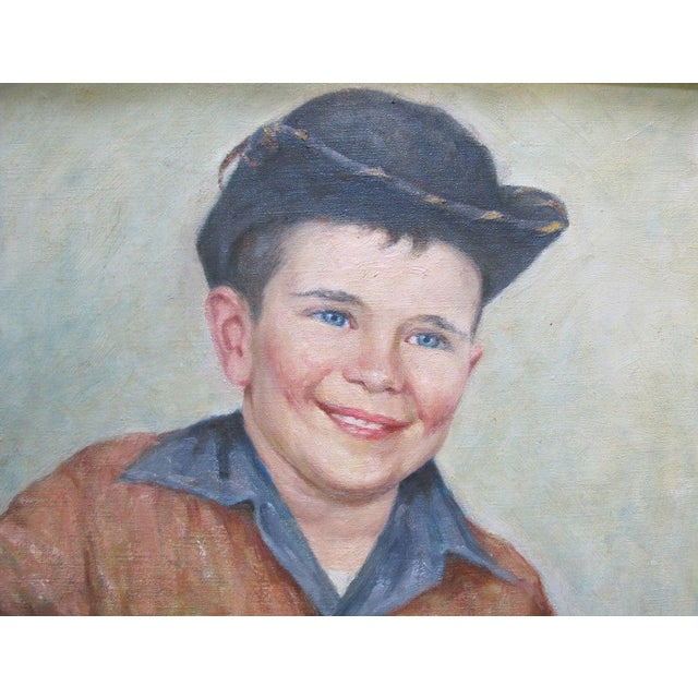Signed original oil painting by artist Frank Ashford. Portrait of a young boy in a western themed outfit. Oil painting on...