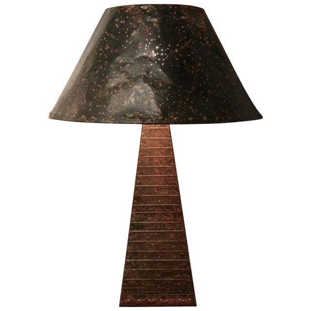 Hand-Hammered Patchwork Copper Lamp and Shade For Sale