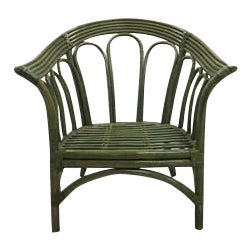 Green Italian Mid-Century Green Curved Rattan Armchair For Sale