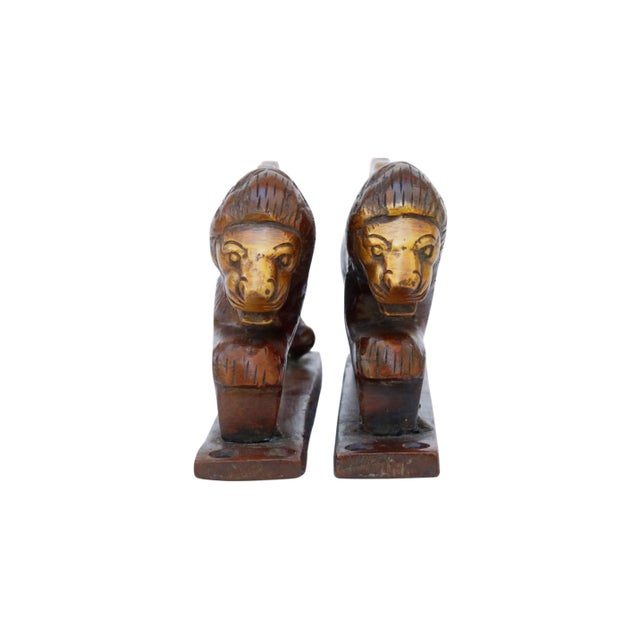 Red Brass Lion Door Handles - a Pair For Sale - Image 4 of 5