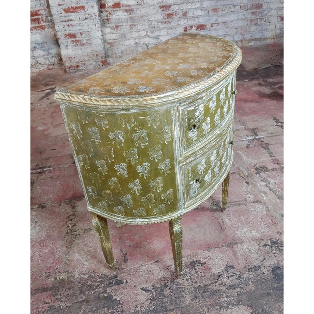 Wood Antique Italian Florentine Demilune Gilt-Wood Commodes - A Pair For Sale - Image 7 of 10