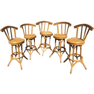 Mid-Century Bamboo and Cane Tiki Bar Stools - 5 Pc. Set For Sale