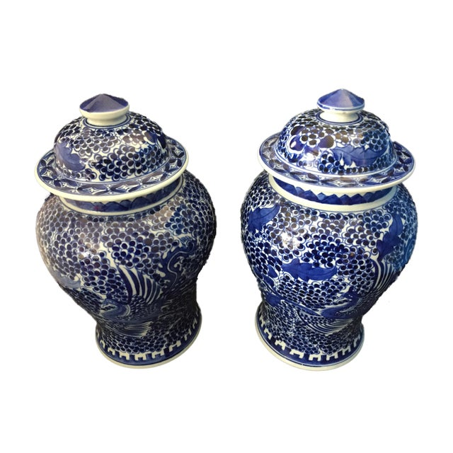 Blue & White Lidded Ginger Jars - a Pair - Image 7 of 9
