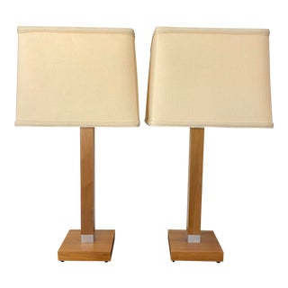Contemporary Wood and Chrome Table Lamps - a Pair For Sale