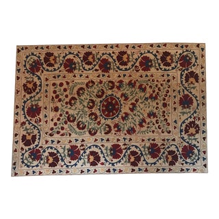 Large Floral Embroidery Vintage Suzani Artisanal Multi-Color Textile Mounted on Wood For Sale