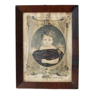 19th Century Currier & Ives Hand Colored Original Lithograph Print in Rosewood Frame For Sale