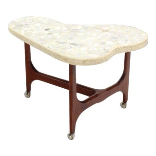 Vintage Mid Century Organic Shape Solid Oiled Walnut Base Travertine Top End Side Table For Sale