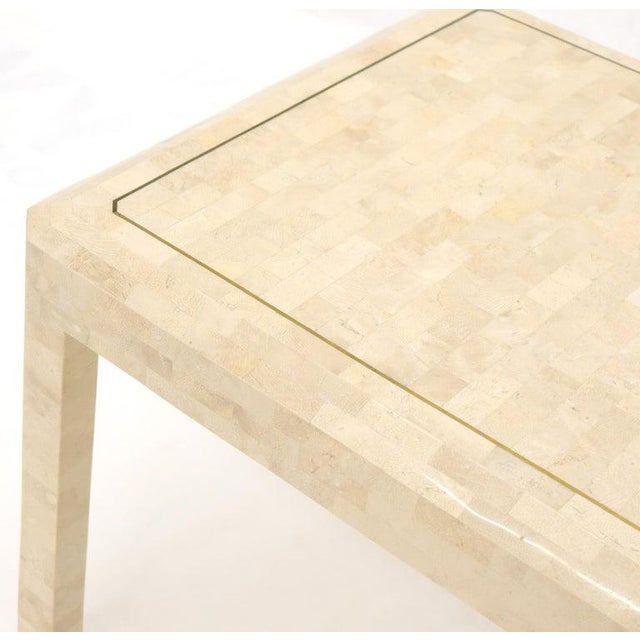 Tesselated Stone Brass Inlay Square Side End Table For Sale - Image 9 of 12
