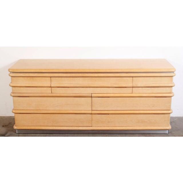 Art Deco 1980s Vintage Jay Spectre for Century Furniture Cerused Oak Dresser For Sale - Image 3 of 13