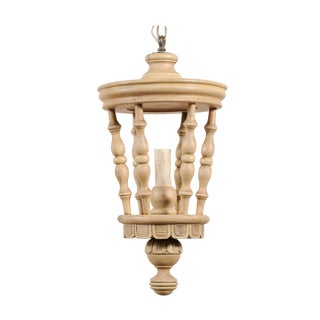 Mid-20th Century French Single Light Lantern Style Wooden Light Fixture For Sale