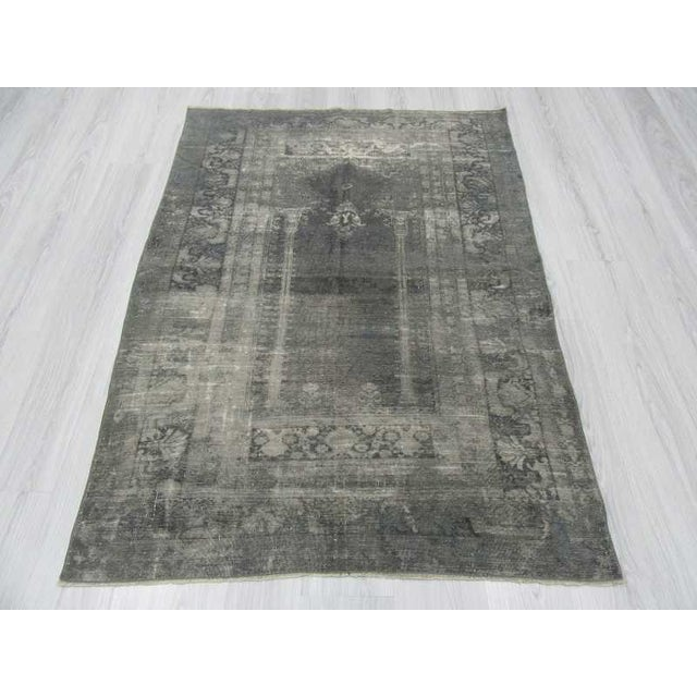 Islamic Vintage Artificial Silk Gray Overdyed Turkish Rug - 4′1″ × 5′9″ For Sale - Image 3 of 6