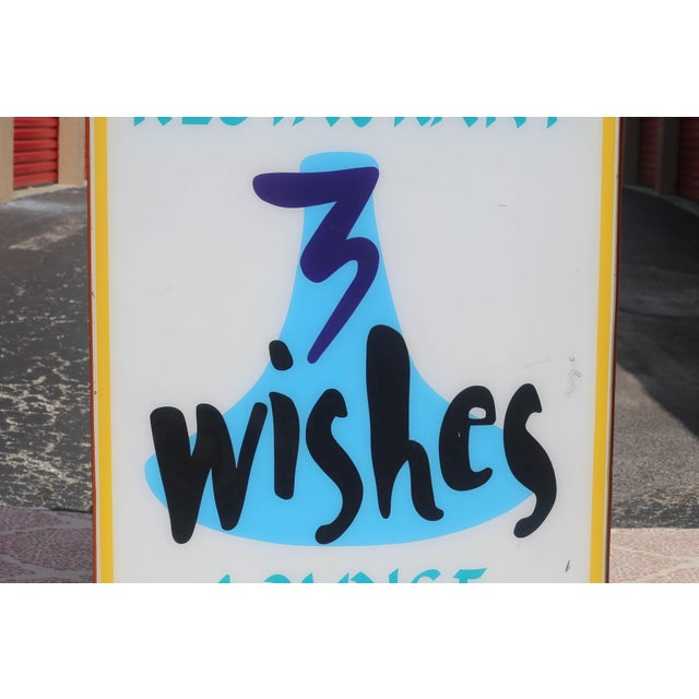 Vintage Illuminated Commercial Sign From 3 Wishes Restaurant and Lounge For Sale In Tampa - Image 6 of 12