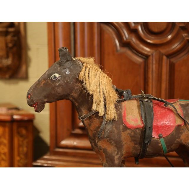 Late 19th Century 19th Century French Leather Papier Mache and Horse Hair Painted Sculpture For Sale - Image 5 of 10