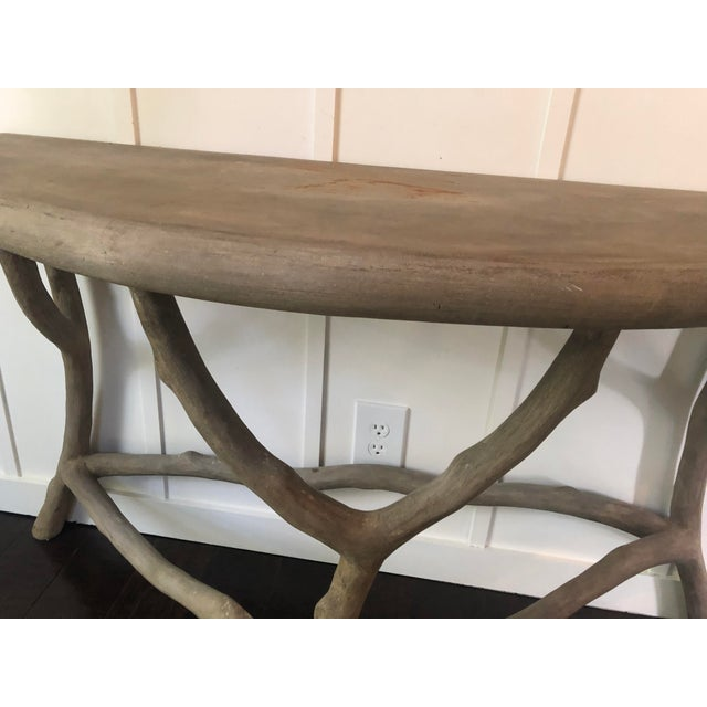 Modern Cast Stone Concrete Faux Bois Demilune Console Table For Sale - Image 4 of 9
