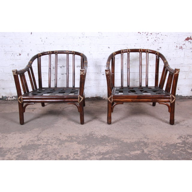 Blue McGuire Hollywood Regency Mid-Century Modern Bent Rattan Lounge Chairs - a Pair For Sale - Image 8 of 13