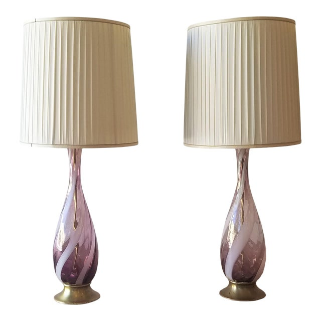 Amethyst Murano Glass Table Lamps - a Pair For Sale