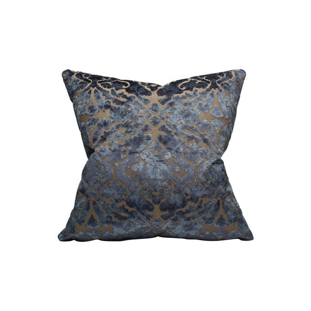 Traditional Palazzo Velvet Pillow, Indigo For Sale - Image 3 of 3