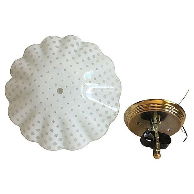 Brass Ruffled Polka Dot Flush Light For Sale - Image 7 of 8