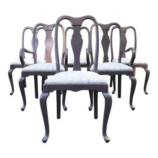 1980s Vintage Queen Anne Purple Lacquered Dining Chairs - For Sale