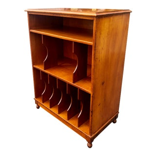 1950s Mid-Century Modern Walnut Vinyl Record Cabinet Shelf For Sale