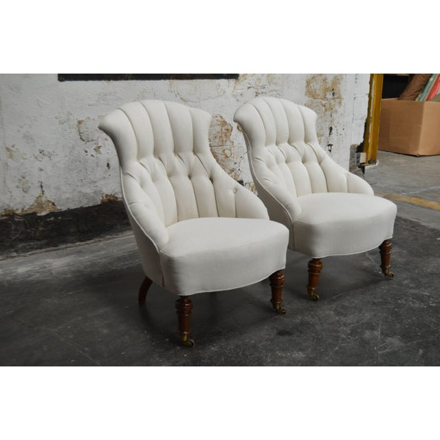 Early 20th Century Pair of Vintage Swedish Emma Tufted Slipper Chairs, circa 1900's For Sale - Image 5 of 11