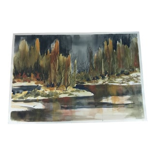 Original Unframed Trees on a Lake Watercolor Painting For Sale