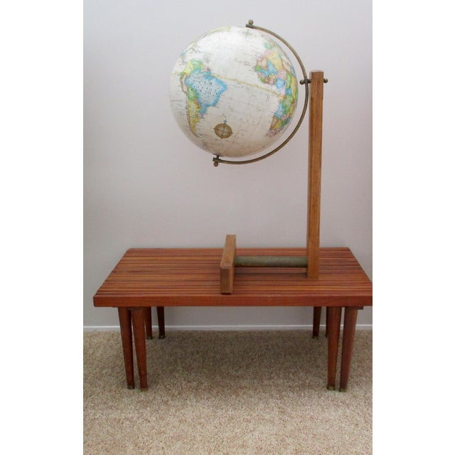 Sleek Modernist Floor Globe on Wood & Metal Stand For Sale - Image 9 of 11