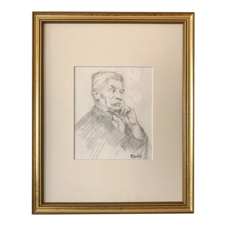 Vintage American Drawing Portrait of a Man by Harold Christopher Davies For Sale