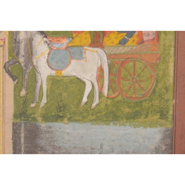 Paper Krishna in Chariot Miniature Indian Painting For Sale - Image 7 of 10