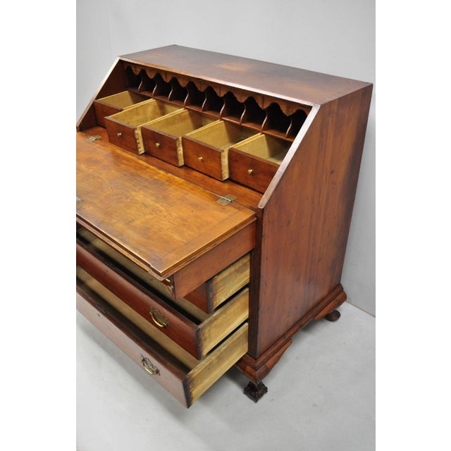 19th Century Chippendale Mahogany Slant Top Carved Ball & Claw Secretary Desk For Sale In Philadelphia - Image 6 of 13