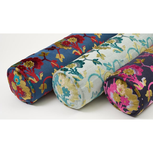 Early 21st Century Schumacher Jennie Velvet Bolster Pillow in Midnight & Magenta For Sale - Image 5 of 9